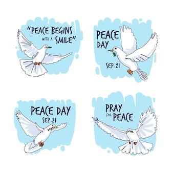 Ręcznie rysowane etykiety międzynarodowego dnia pokoju