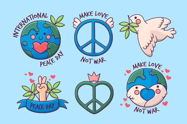 Ręcznie rysowane etykiety międzynarodowy dzień pokoju