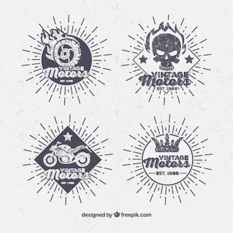 Ręcznie rysowane etykiety rocznika moto