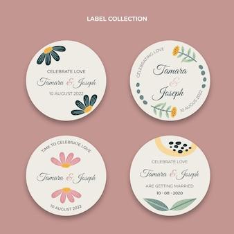 Ręcznie rysowane etykiety ślubne