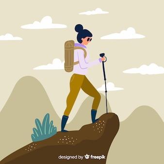 Ręcznie rysowane explorer z tłem plecak