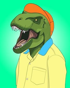 Ręcznie rysowane fajna ilustracja dinozaura