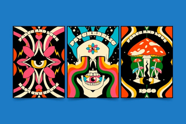 Ręcznie rysowane fajne psychodeliczne okładki