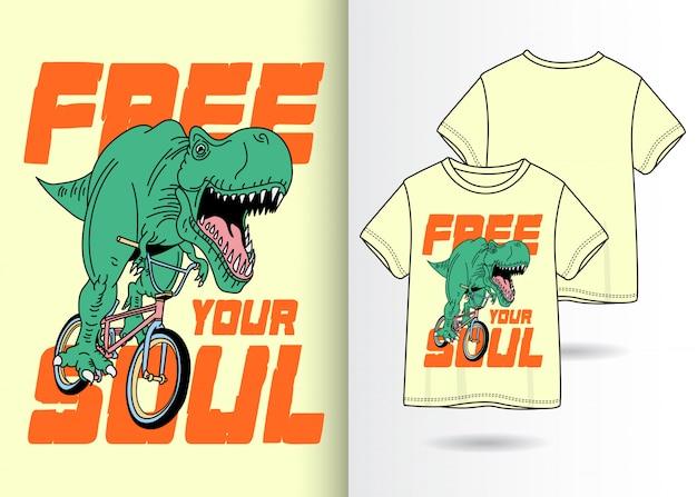 Ręcznie rysowane fajny dinozaur z koszulką