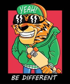 Ręcznie rysowane fajny projekt wektor tygrys do druku t shirt