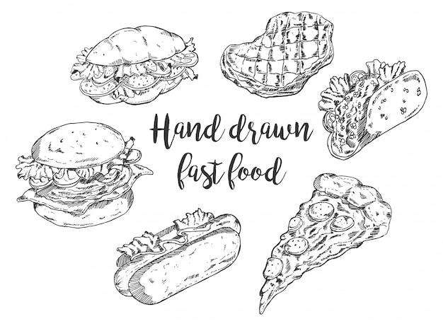 Ręcznie rysowane fast food