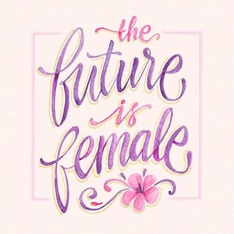 Ręcznie rysowane feministyczny napis przyszłość jest kobietą