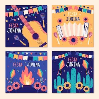 Ręcznie rysowane festa junina karty pakiet szablon