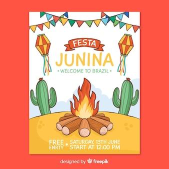 Ręcznie rysowane festa junina plakat szablon