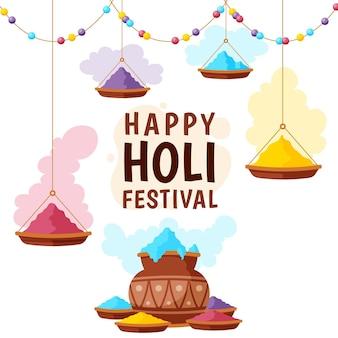 Ręcznie rysowane festiwal holi