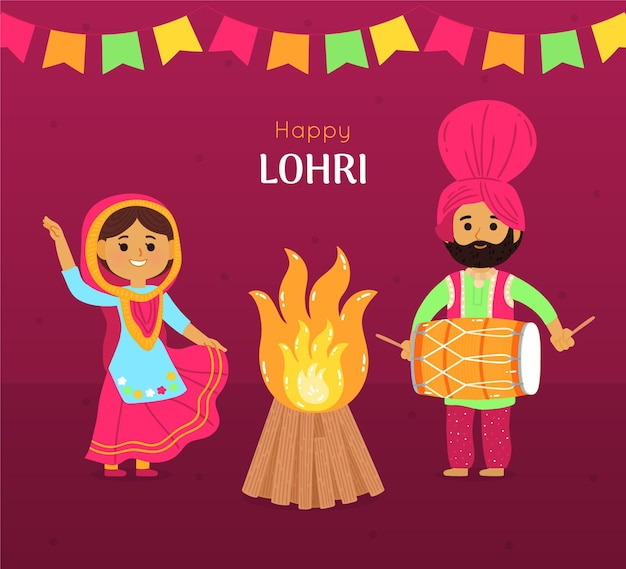 Ręcznie rysowane festiwal lohri