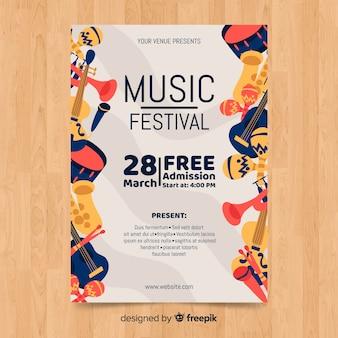 Ręcznie rysowane festiwal muzyki plakat szablon