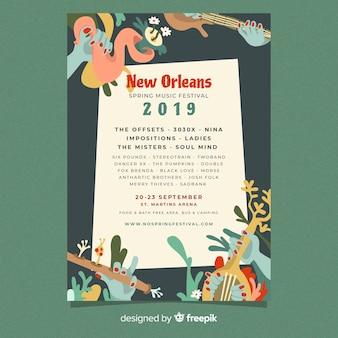 Ręcznie rysowane festiwal muzyki plakat