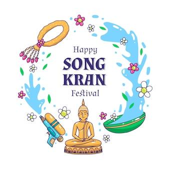 Ręcznie rysowane festiwal songkran