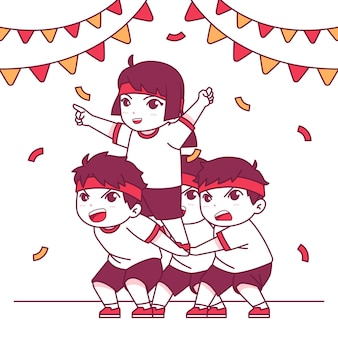 Ręcznie rysowane festiwal sportowy