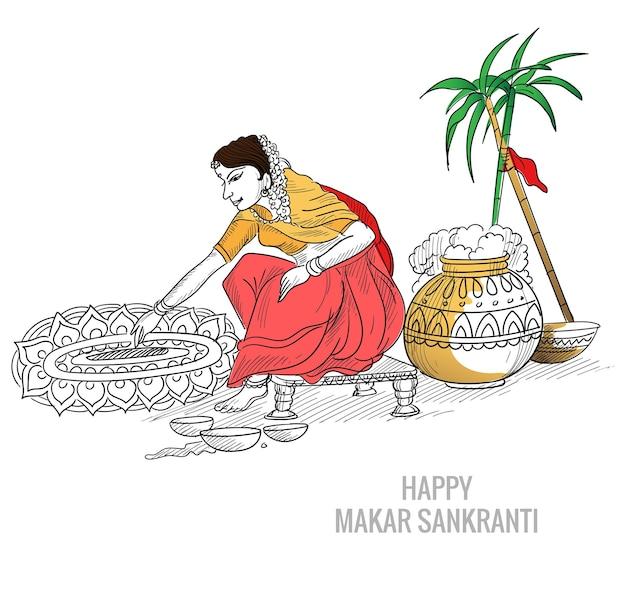 Ręcznie rysowane festiwalu makar sankranti piękny szkic