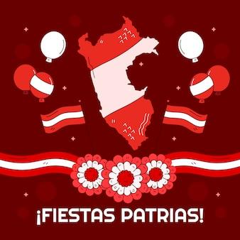 Ręcznie rysowane fiesty patrias de peru ilustracja