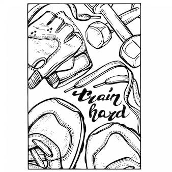 Ręcznie rysowane fitness doodle zestaw