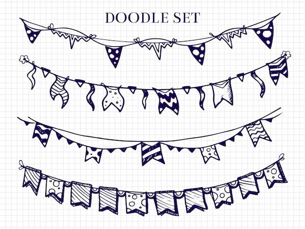 Ręcznie rysowane flagi girlandy doodle zestaw na obchody urodzin, szkicowy trznadel do ilustracji festiwalu
