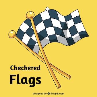Ręcznie rysowane flagi w kratkę wyścigu