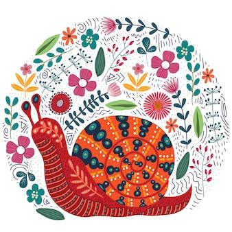 Ręcznie rysowane folk ślimak i kwiaty