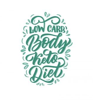 Ręcznie rysowane frazę logo dla diety ketogenicznej: dieta ketonowa o niskiej zawartości węglowodanów, ilustracja
