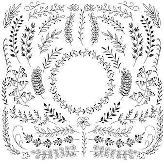 Ręcznie rysowane gałęzie z liśćmi ozdoby. ramki ozdobne wieniec kwiatowy. rustykalne doodle wektor zestaw