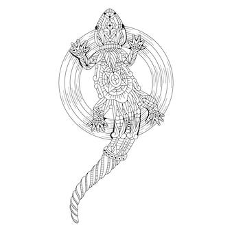 Ręcznie rysowane gekona w stylu zentangle