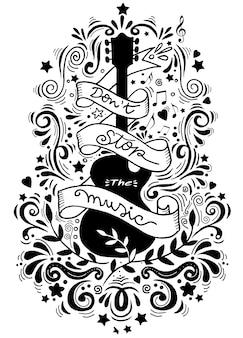 Ręcznie rysowane gitara elektryczna z wstążką