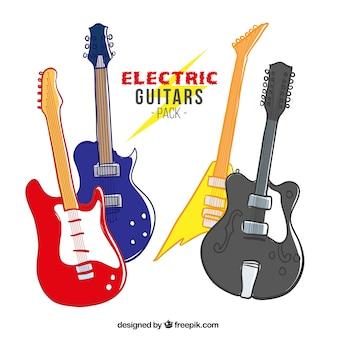 Ręcznie rysowane gitary elektryczne pakować