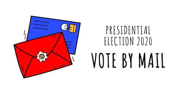 """Ręcznie rysowane głosować pocztą. koncepcja """"zachowaj bezpieczeństwo"""" wybory prezydenckie w stanach zjednoczonych w 2020 r. szablon na tło, baner, karty, plakat z napisem tekstowym."""