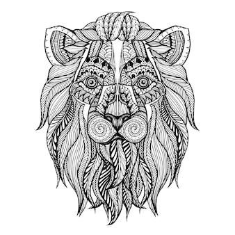 Ręcznie rysowane głowa tło lwa