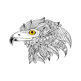 Ręcznie rysowane głowy orła. ilustracja rysunek ręka.