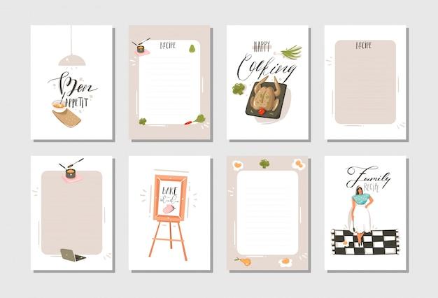 Ręcznie rysowane gotowanie ilustracje studio przepis karty karty templete kolekcja zestaw z ludźmi, jedzenie na białym tle