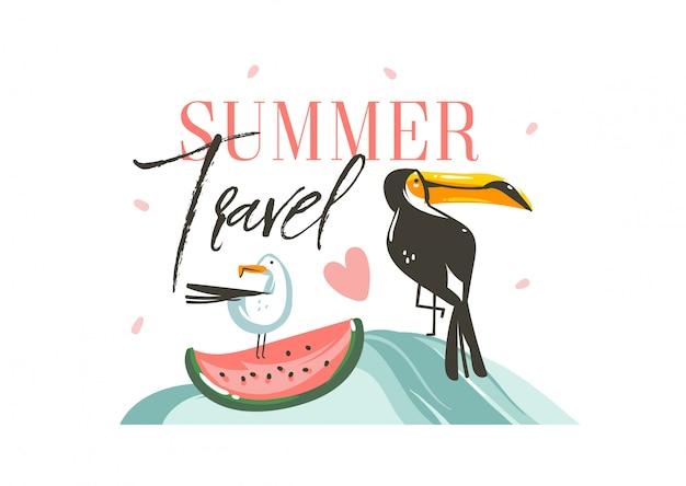 Ręcznie rysowane graficzny kreskówka lato czas płaskie ilustracje sig z tropikalnych ptaków tukan i arbuz i typografia cytat summer travel na białym tle
