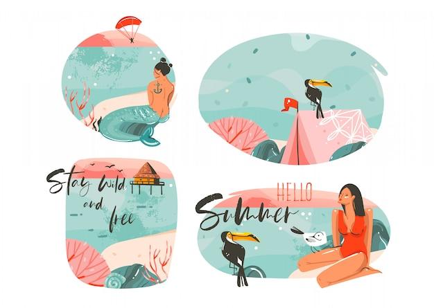 Ręcznie rysowane graficzny kreskówka lato czas płaskie ilustracje znak kolekcja zestaw z dziewczyna, syrenka, namiot kempingowy, ptaki tukan i cytaty typografii na białym tle