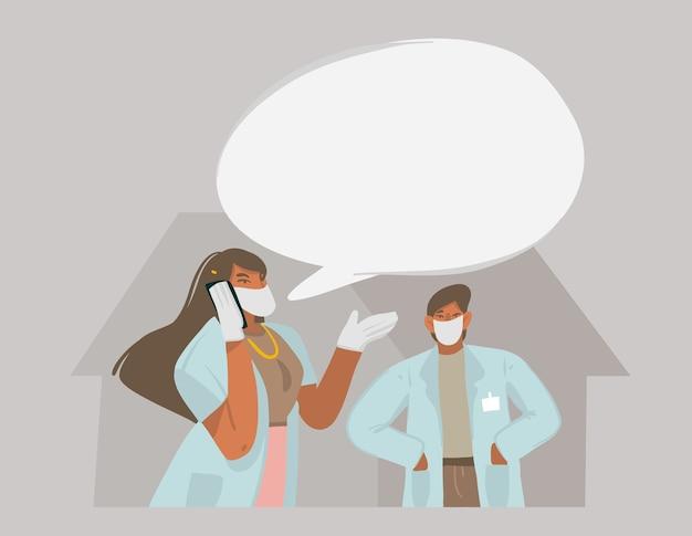 Ręcznie rysowane grafiki streszczenie ilustracji z lekarzami, którzy rozmawiają przez telefon i udzielają zaleceń, aby zachować odległość na białym tle na kolorowym tle.