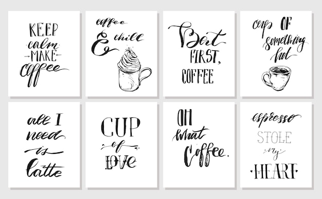 Ręcznie rysowane grafiki wektorowe tuszem plakaty lub kolekcja kart z kawy odręcznie cytaty nowoczesnej kaligrafii na białym tle. projekt dekoracji dla sho, pieczęć, logo, marki.