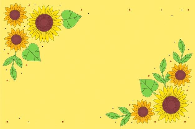 Ręcznie rysowane granica słonecznika zilustrowana