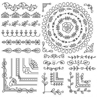 Ręcznie rysowane granicy i ramki, element projektu karty ślubu