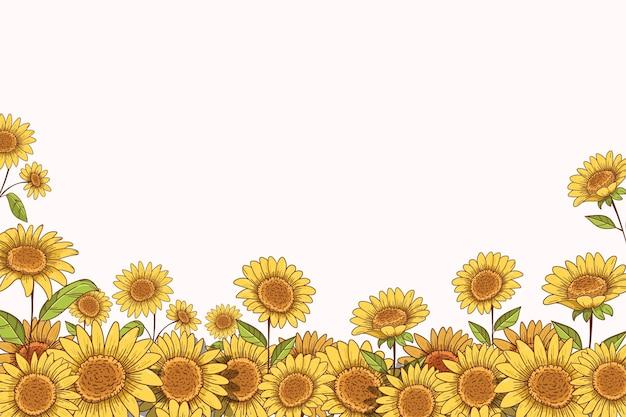 Ręcznie rysowane granicy słonecznika z miejsca na kopię