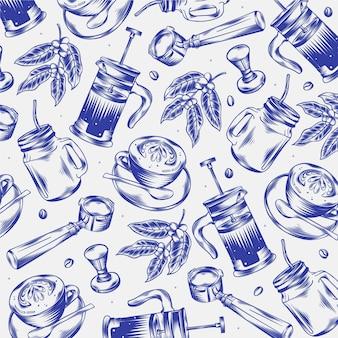 Ręcznie rysowane grawerowane gryzmoły kawiarni