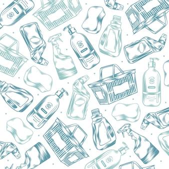Ręcznie rysowane grawerowane gryzmoły supermarketów