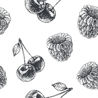 Ręcznie rysowane grawerowanie styl czarno-biały wzór owoców bez szwu. gruszka, jabłko, wiśnie, malina, papier, tło.