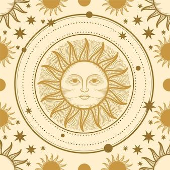 Ręcznie rysowane grawerowanie wzór słońca