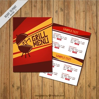 Ręcznie rysowane grill szablon menu