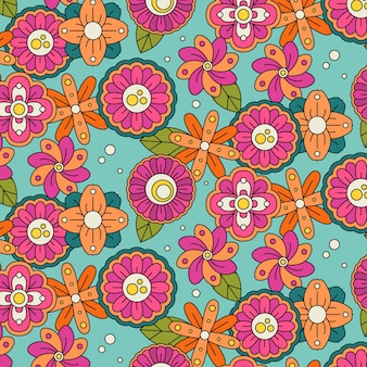 Ręcznie rysowane groovy kwiatowy wzór