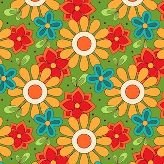 Ręcznie Rysowane Groovy Kwiatowy Wzór Darmowych Wektorów