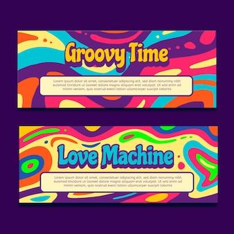 Ręcznie rysowane groovy psychodeliczne banery