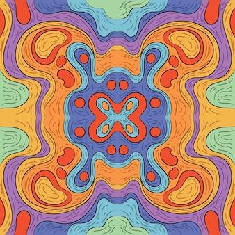 Ręcznie rysowane groovy psychodeliczny kolorowy wzór